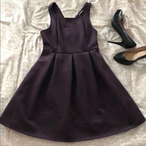 Express plum purple mini dress with flared skirt